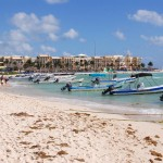 Boats at Playa del Carmen beach